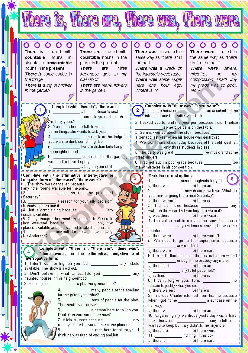 There is, There are, There was, There were – rules, examples and exercises [5 tasks] KEYS INCLUDED ((2 pages)) ***editable